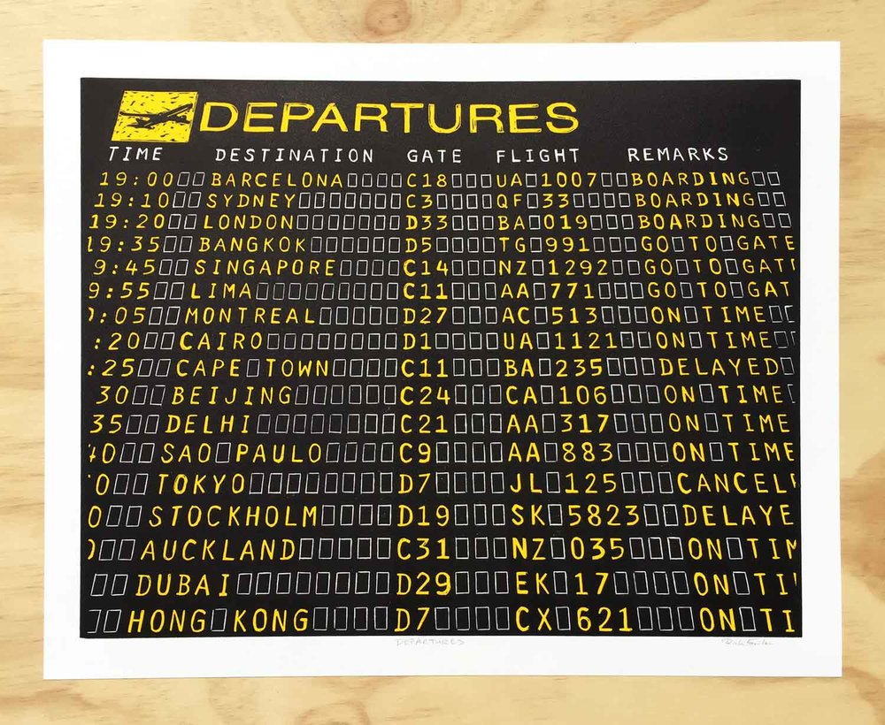 Airport Departure Sign | Block Print
