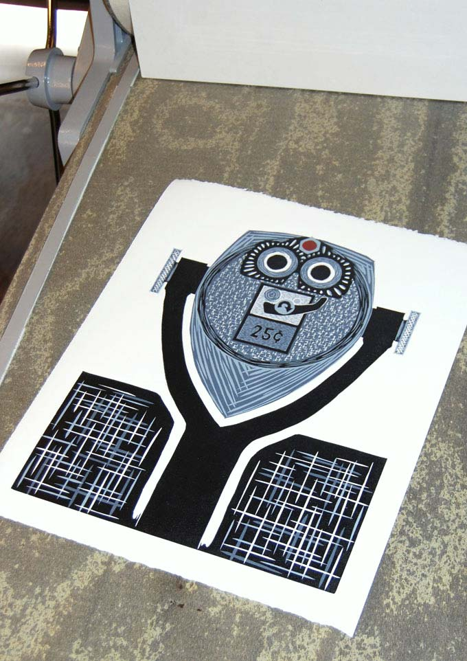 Bright Eyes | Reduction Linocut Print
