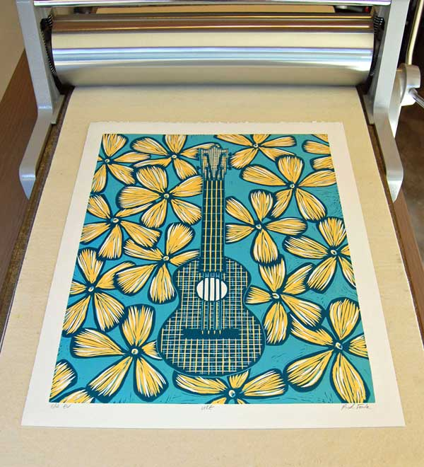 Ukulele Linocut Printed on my Blick 999 Model II Etching Press
