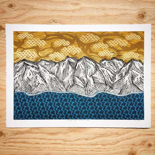 A Lake Tahoe Linocut Printed on my Blick 999 Model II Etching Press
