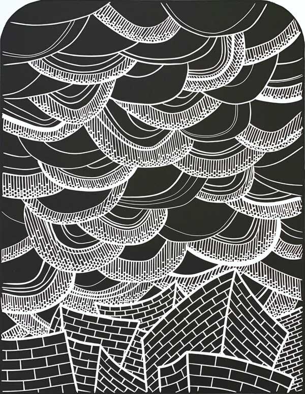 Monoprint Small Abstract Print One-of-a-Kind Print Linocut Print