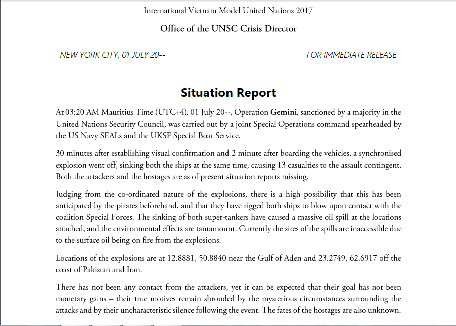 Superb Situation Report From UNSC