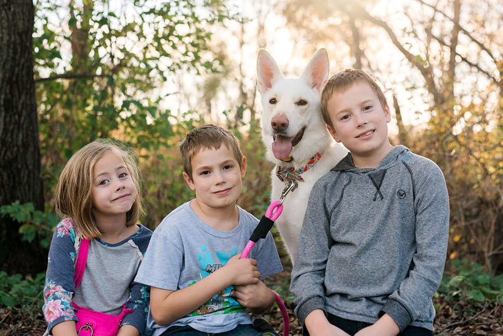 My gorgeous children with our beautiful White German Shepherd.