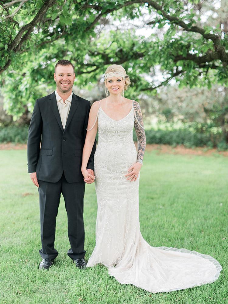 backyard wedding small wedding  simple wedding beaded gown vintage gown black suit waterloo ia wedding photography.jpg