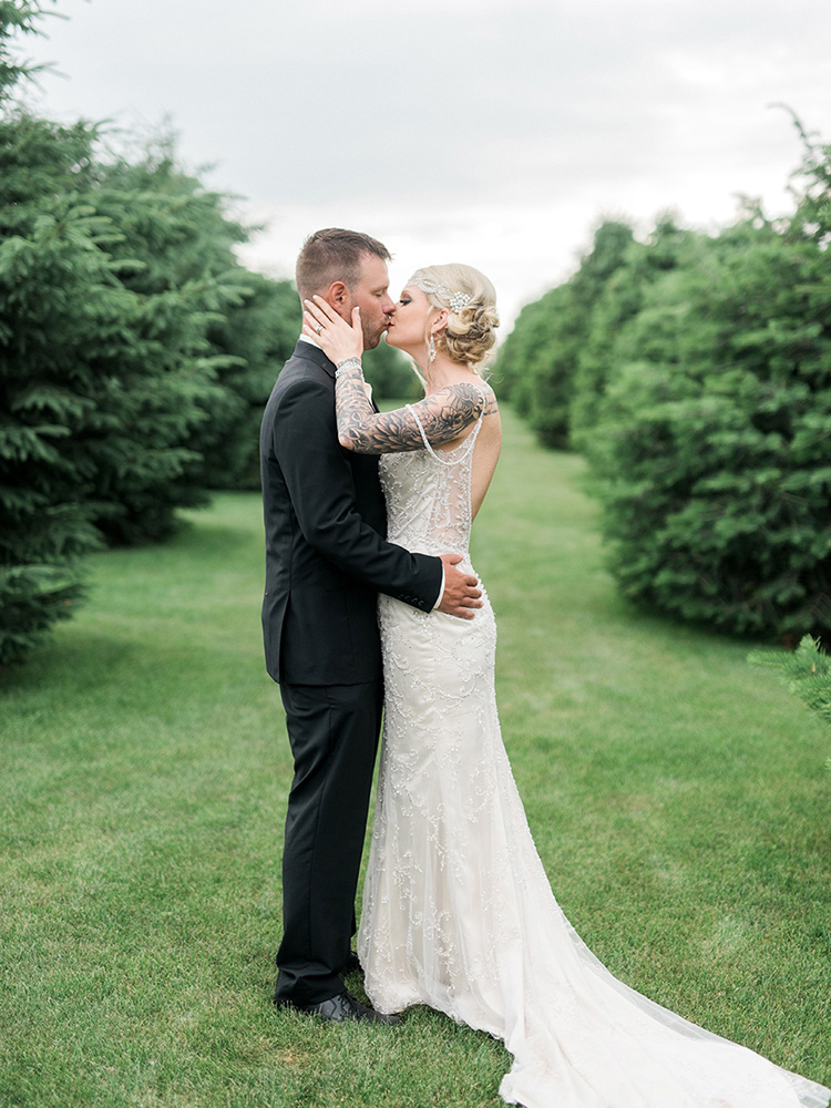 backyard wedding small wedding beaded gown black suit vintage waterloo ia wedding photographer.jpg