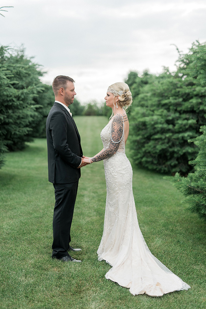 backyard wedding small wedding simple wedding beaded gown black suit waterloo ia wedding photographer.jpg