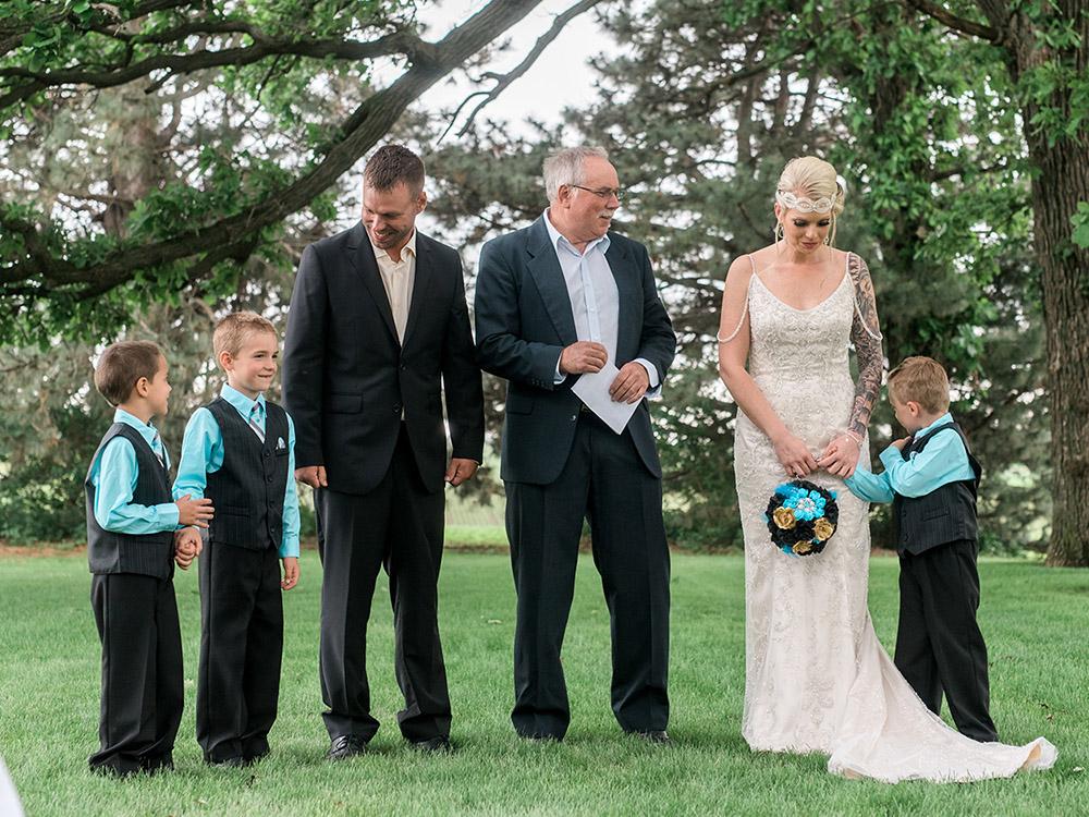 backyard wedding small wedding teal black and gold waterloo ia wedding photography.jpg