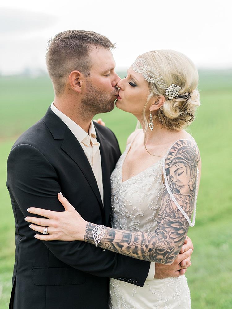 farm wedding beaded gown vintage tattood bride black suit waterloo cedar falls ia wedding photographer.jpg