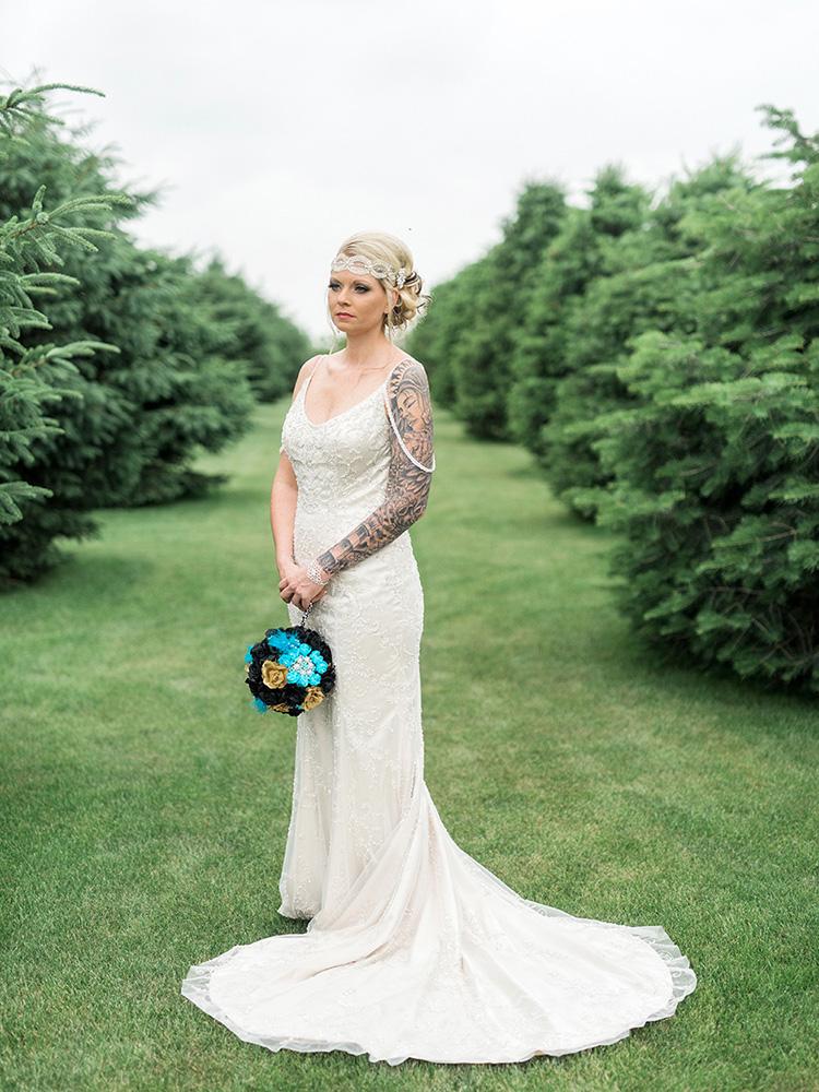 tattood bride vintage gown beaded gown DIY bouquet waterloo ia wedding photographer.jpg