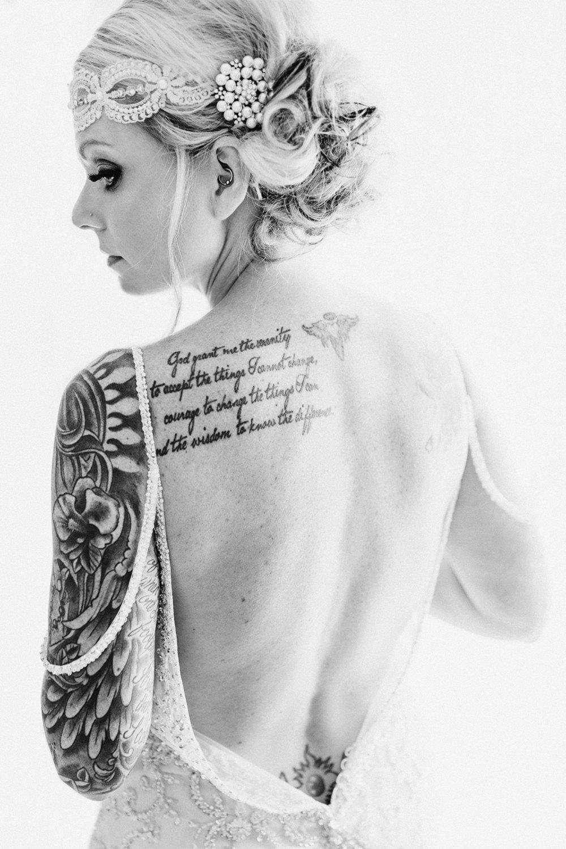 tattooed bride high key back and white portrait. Rock n Roll Bride Iowa
