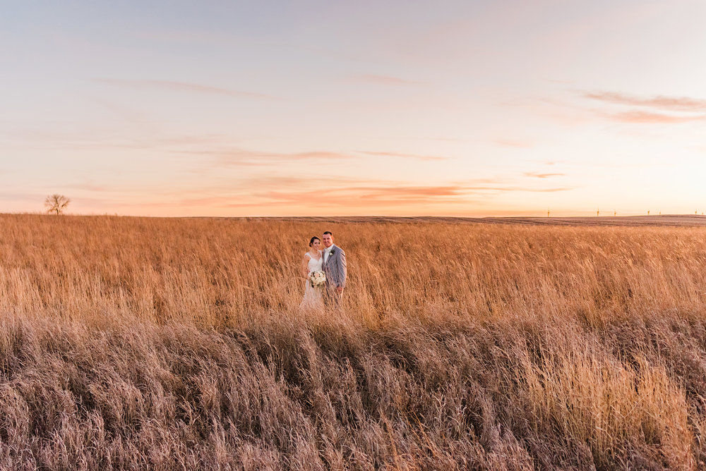 Bride and groom pose in a field after their winter wedding in Great Mills, IA