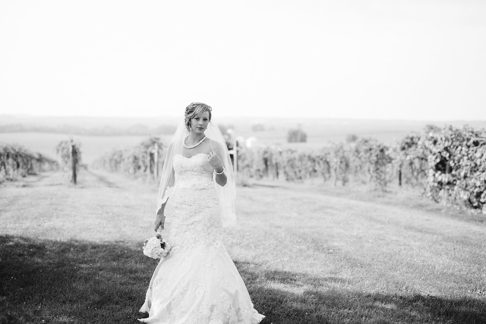 black and white bridal portrait at a vineyard wedding in Iowa