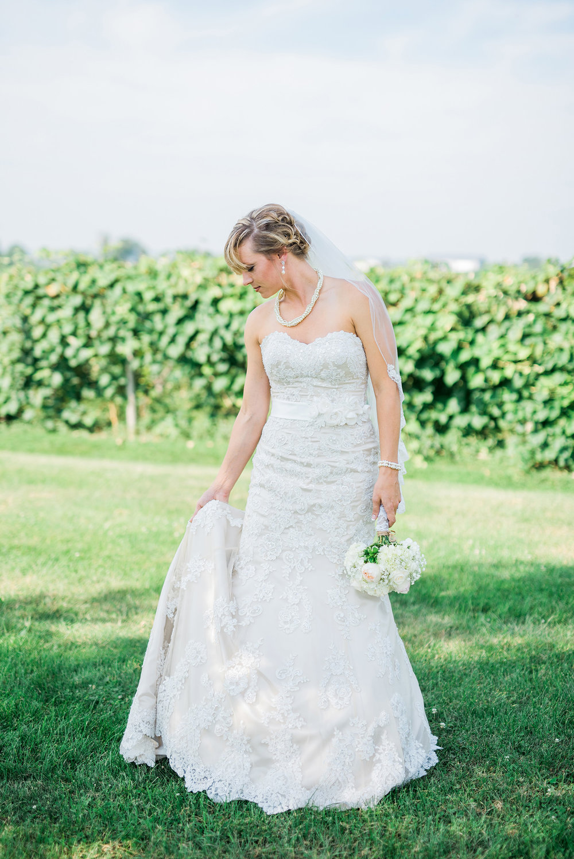 bride at a vineyard wedding in Traer, IA