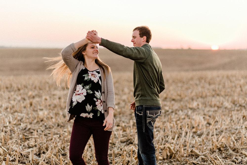 Nicole Corrine Iowa Wwdding Photographer Farm Engagement Session dance.jpg