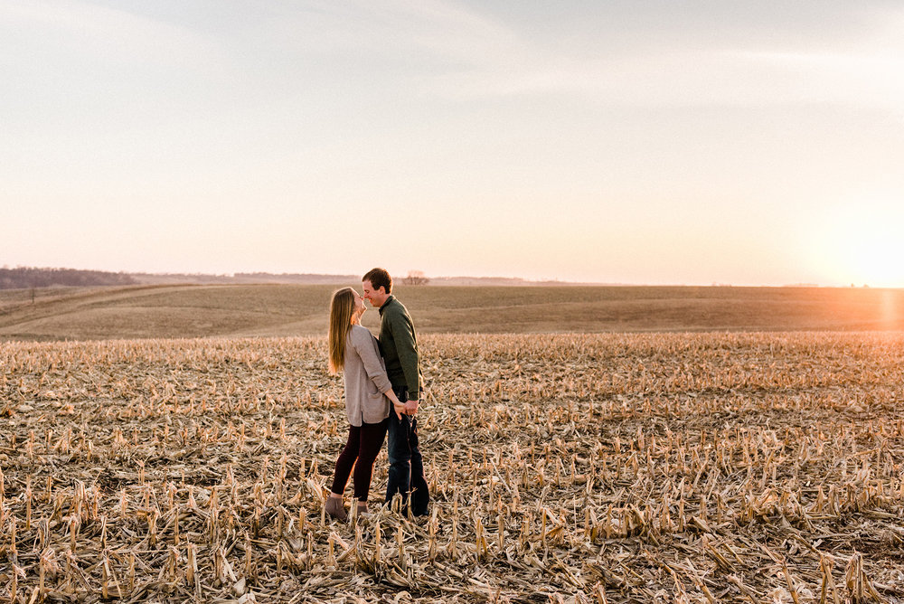Nicole Corrine Iowa Wwdding Photographer Farm Engagement Session sunset.jpg