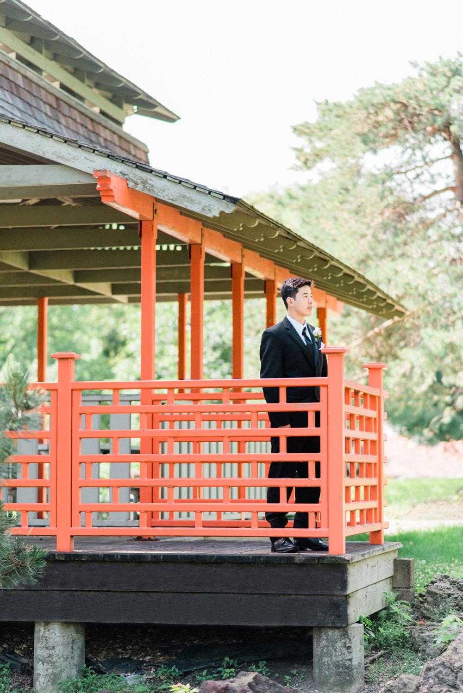Groom awaiting his bride at Washington Park, Waterloo, IA