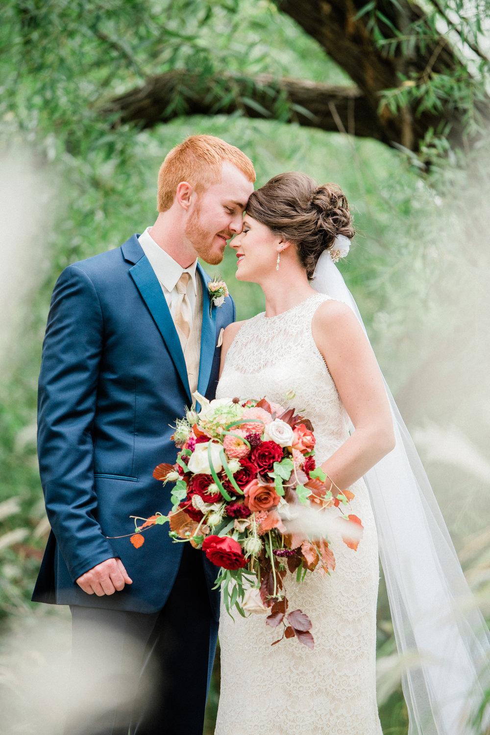 Fall bride and groom in Reinbeck, IA