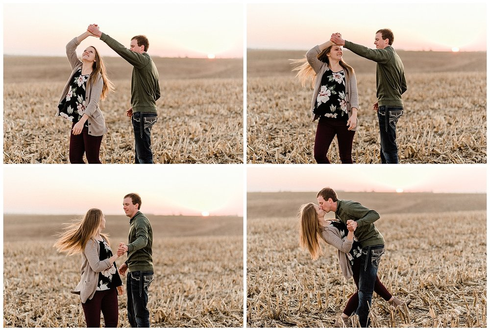 Couple dancing in an Iowa Corn field Engagement Session Nicole Corrine.jpg