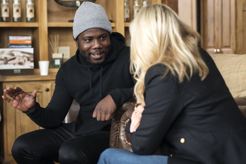 Kewku Mandela (Producer, Grandson of Nelson Mandela) and Holly Levow (Philanthropist, Founder of Equitas Entertainment) chat at Sundance #ImpactBrunch.