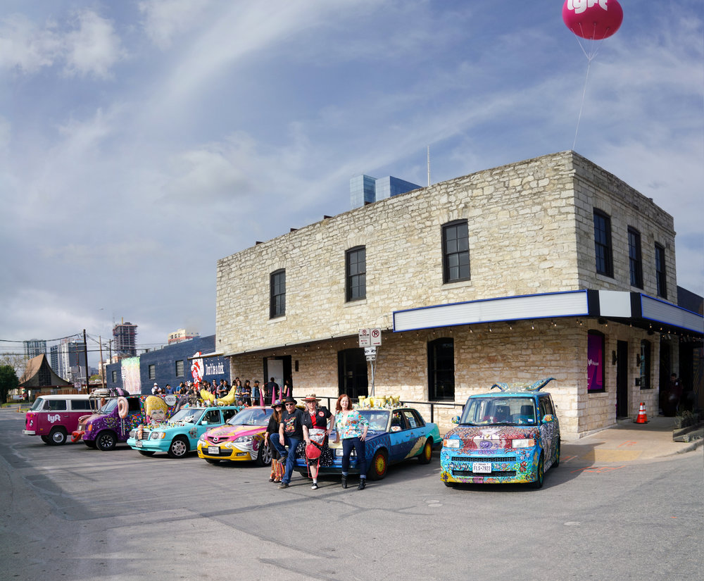 Art cars lined up in front of Native Hostel. Photo courtesy: Marshall Birnbaum, Via Domani