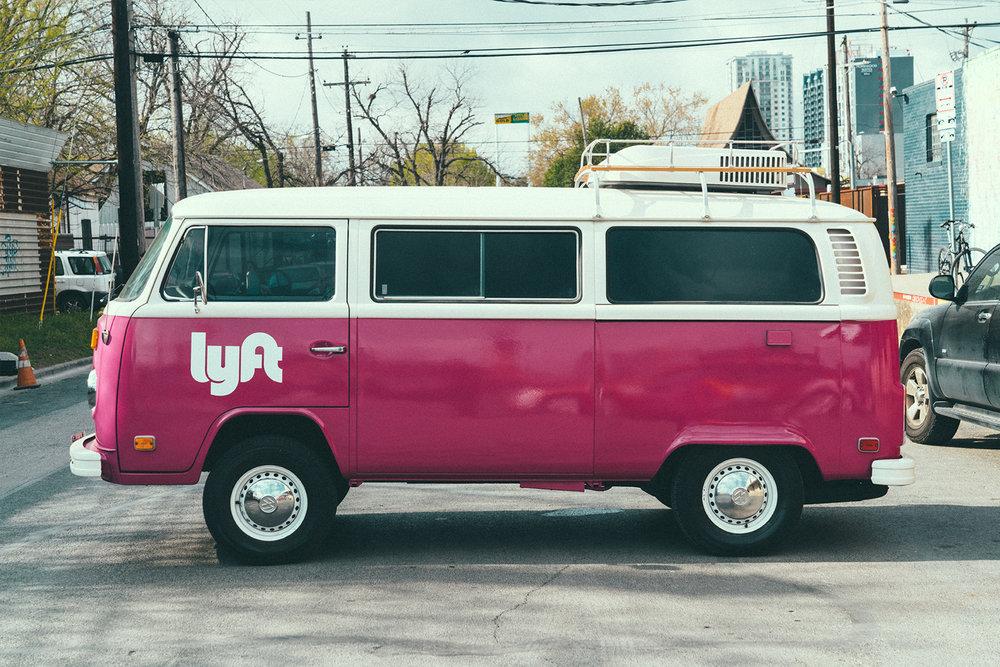 Custom Lyft VW bus happy to be in its new Austin home. Photo courtesy: Marshall Birnbaum, Via Domani