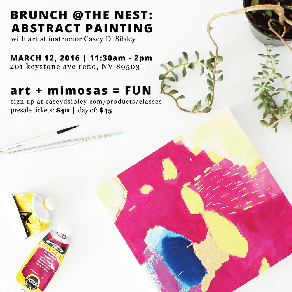 Brunch at The Nest: An Abstract Painting Class