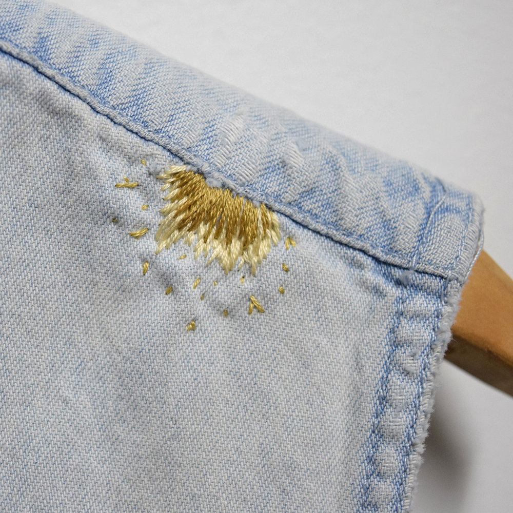 Embroidery Embellishments:  Wednesday, November 8.  6-7:30pm -  Working with satin, blanket, and chain stitches, we will teach you how to embroider your way around stains, tears and mends.