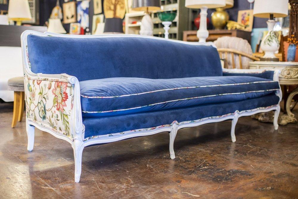Newly Reupholstered Blue Velvet + Floral Vintage Sofa