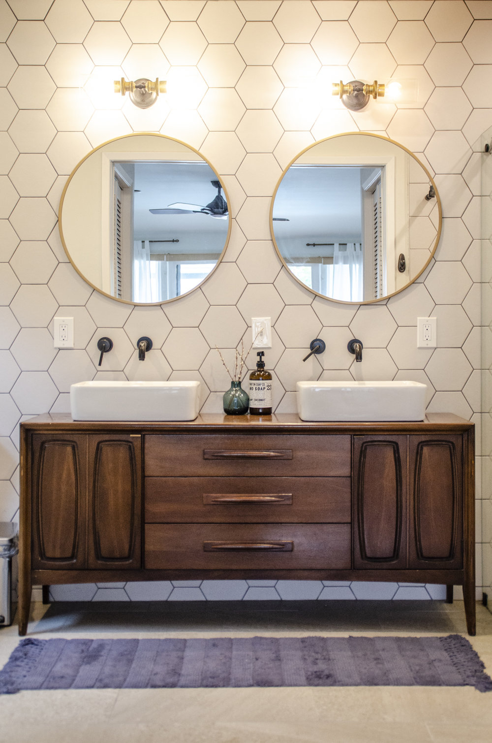 Hexagon tile (splurge) and faux brass mirrors (un-splurge)