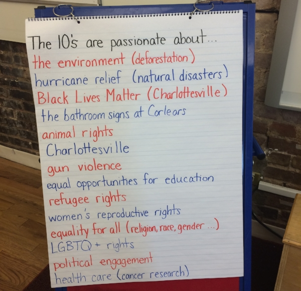 The 10s share issues they care about during their Social justice meeting.