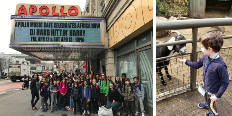 Left: Corlears 8/9s classes pose outside of the legendary Apollo Theater in Harlem. Right: A Kindergarten student experiences first-hand what it's like to be a Zookeeper at Central Park Zoo.