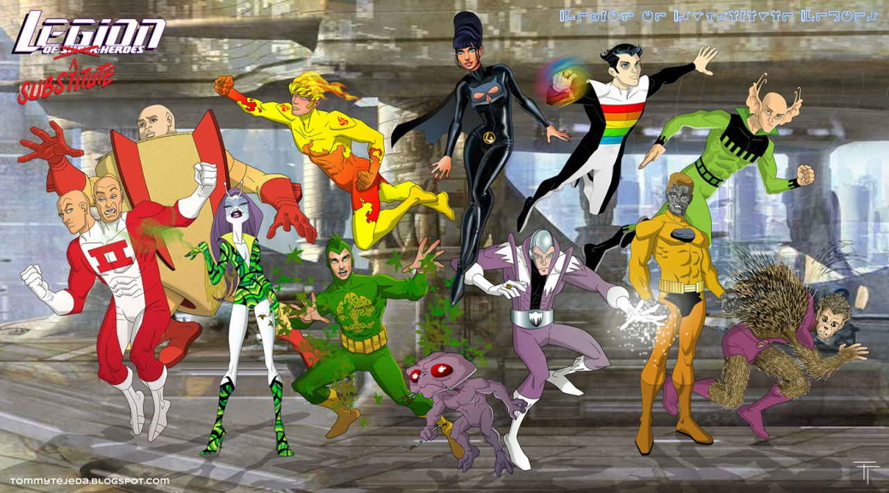 "A group of 30th-century heroes who were denied membership into the Legion of Super-Heroes, due to their powers being deemed limited or inadequate. So they banded together to prove the Legion wrong.   I know I didn't include all members but I didn't get to draw them yet and I couldn't wait to put this group shot together with what I've already had. Eventually I'll add whatever Substitute members are missing here as I'll get them done. So for a full Substitutes group shot you are gonna have to wait a little, and for an all Legionnaires group shot you may have to wait even longer, but I'll get there eventually. You are probably asking yourself why are they wearing all legion rings? I know it's a cheat but it's looks more dynamic if some members could fly on the shot. The BG is called ""Parking Structure"" and was painted by Kurt Richards. I've only changed it a bit.  Feel free to comment on any of my posts, hope you all dig it."