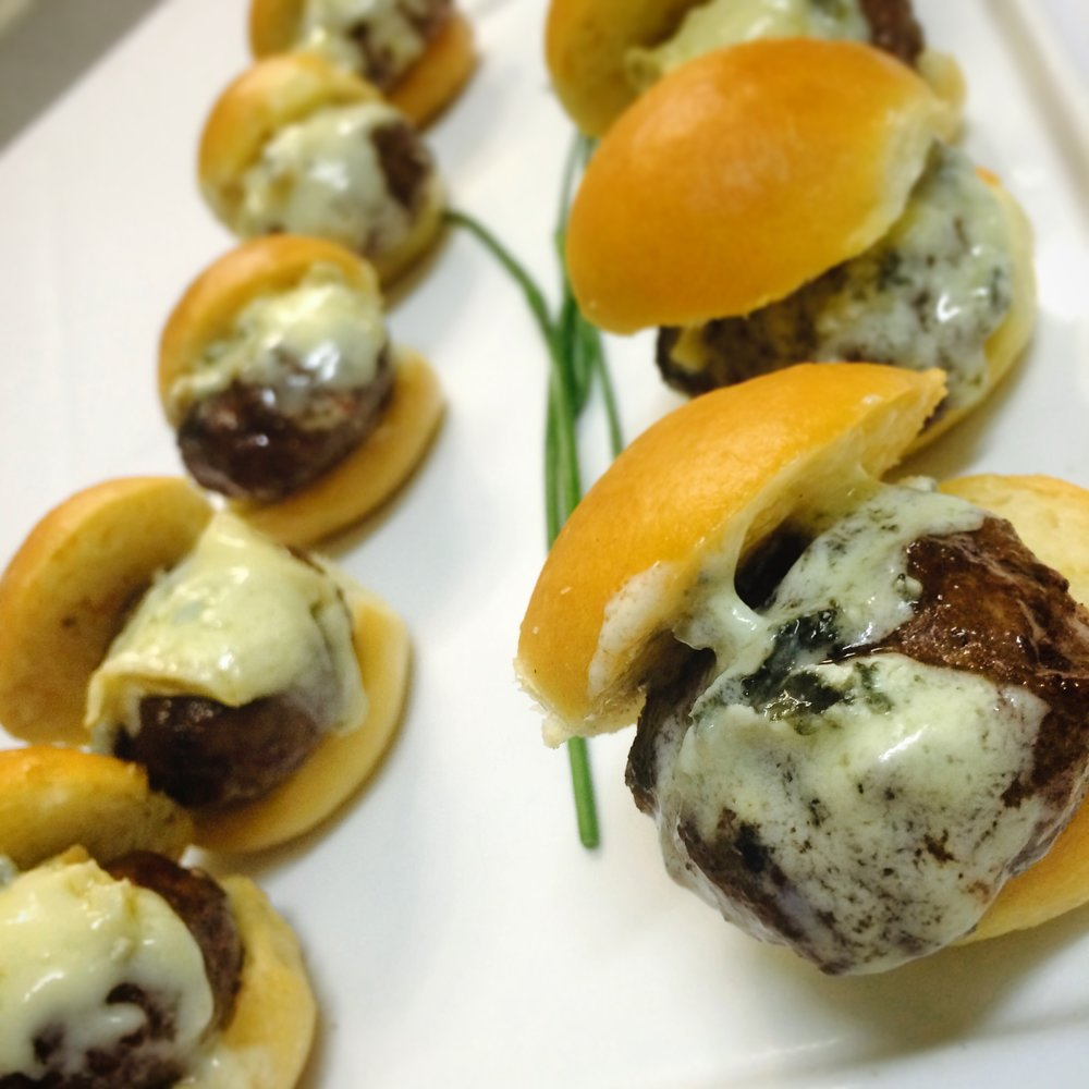 Beef Slider with Cambozola Cheese