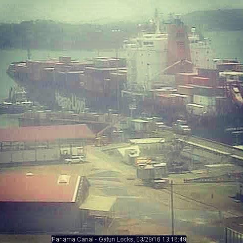 Glasgow Express exiting the Gatún Locks on the Panama Canal.