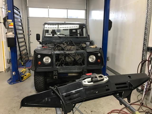 Removing winch and bumper.