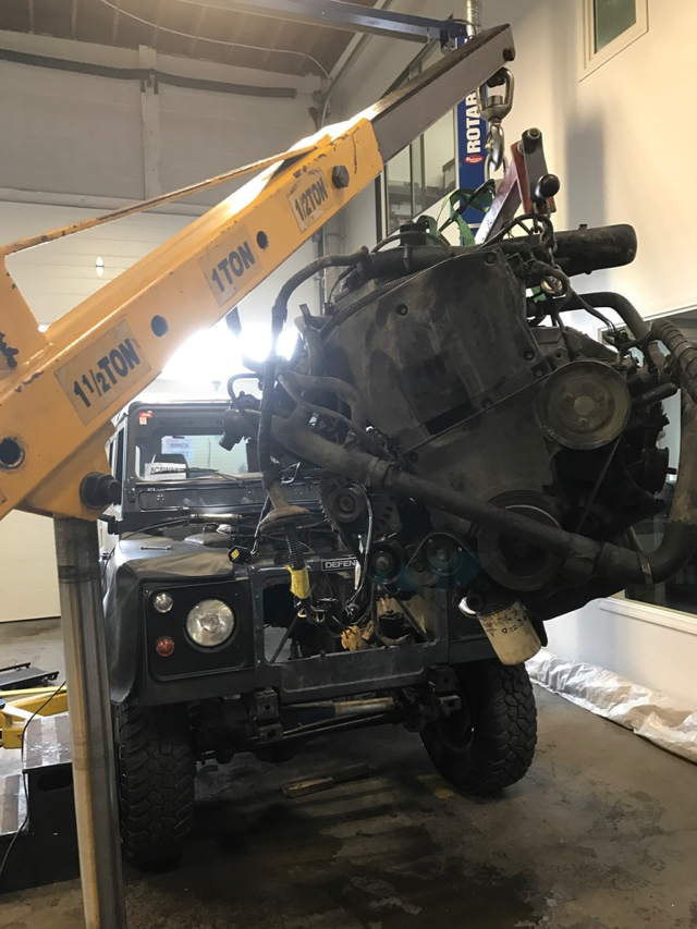 Old engine removal.