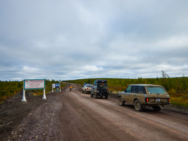 Gated construction entrance to the Mackenzie Valley Highway, NWT