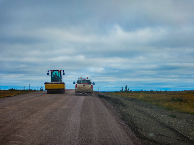 Road crews working hard, Mackenzie Valley Highway, NWT