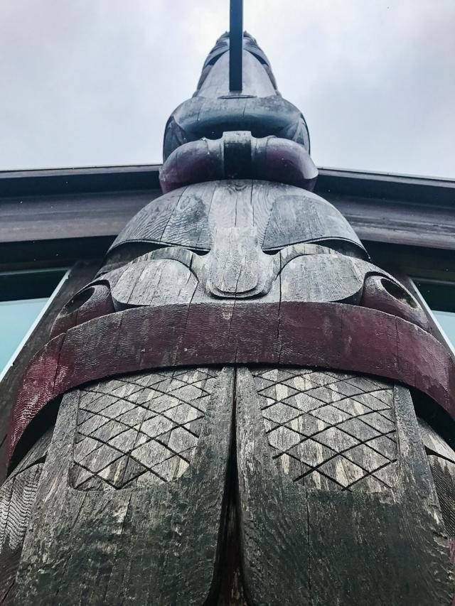 Totem pole at Ḵay Llnagaay Heritage Centre, Haida Gwaii, BC