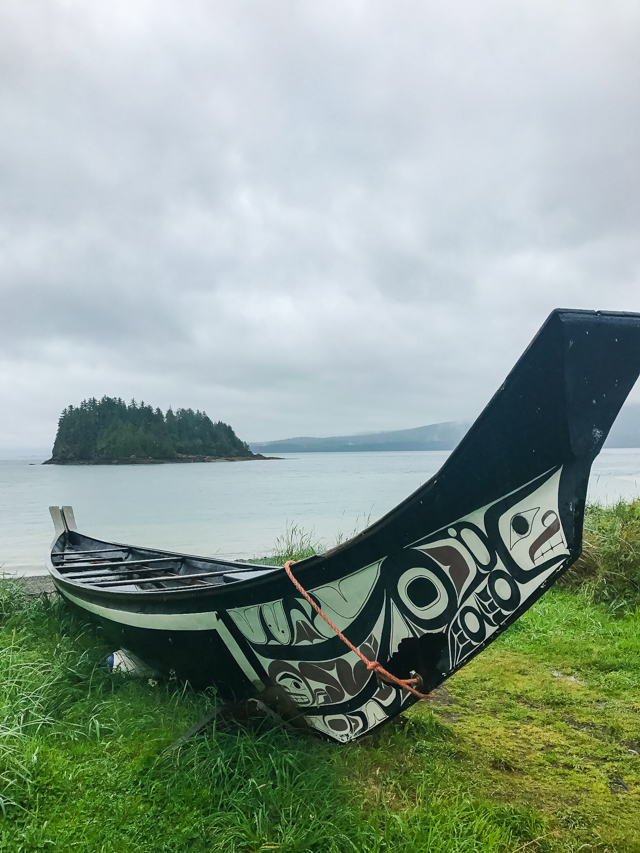 Traditional canoe at Ḵay Llnagaay Heritage Centre, Haida Gwaii, BC