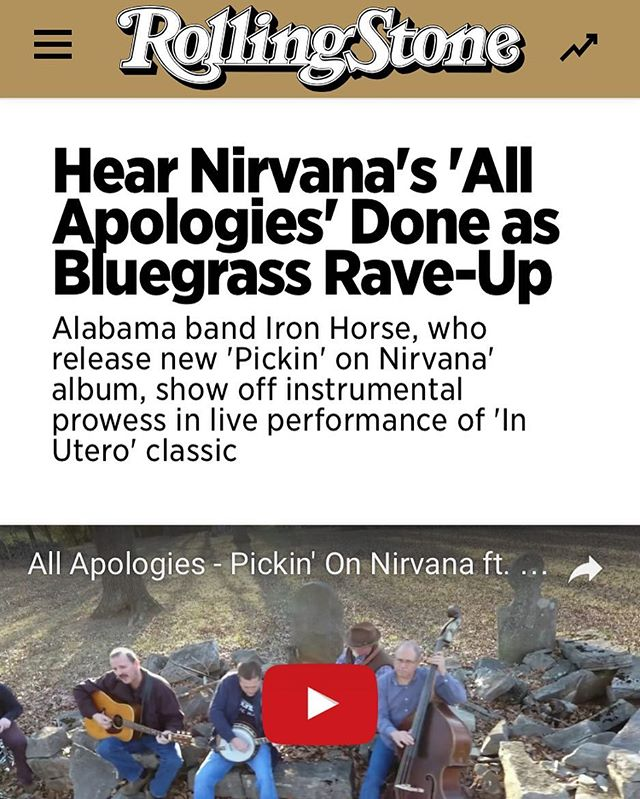 We survived 2 back to back cruises and once we got back to the States this morning, we discovered this amazing Rolling Stone piece about our dad's band, Iron Horse Bluegrass, and their new project covering Nirvana!  We're so proud to see these musicians getting such big attention... we've known how great they are for a long time now!  Check it out!