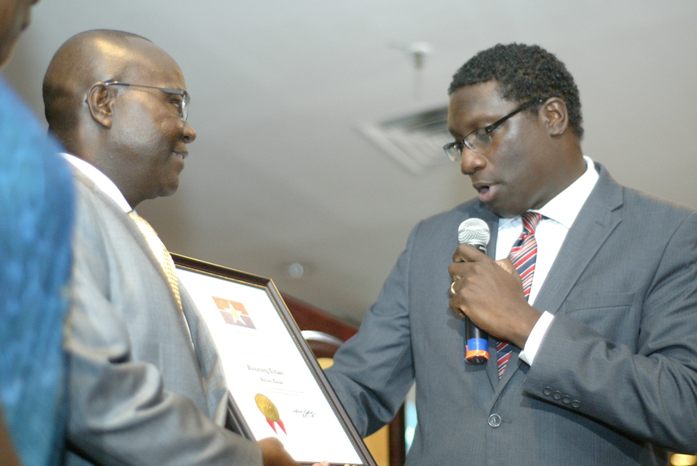 The Ambassador being presented Honorary Citizenship of the City of Dallas by Mayor Pro Tem, Erick Wilson at the event