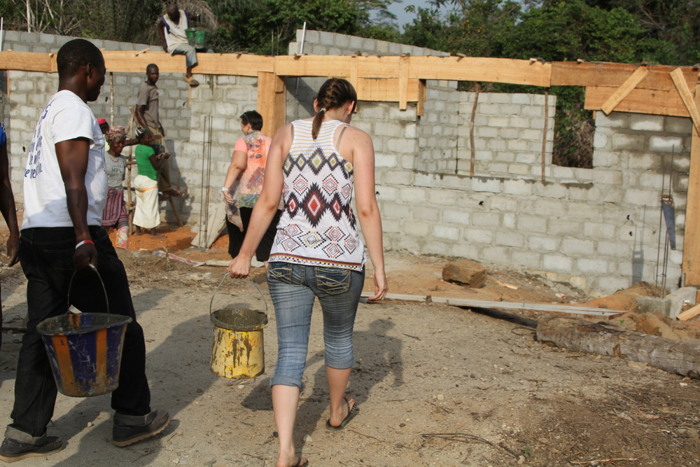 Construction work on the Galai Community School continues with all hands on deck including Whites and Blacks working together to make this world a better place.