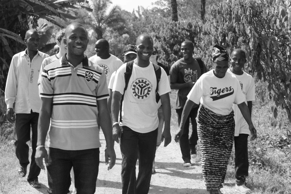 Our team arriving in Fissibu Town in Lofa County in Northern Liberia.