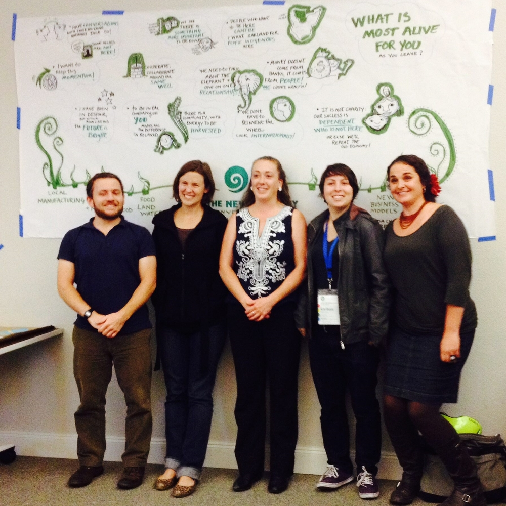 "L to R: ""Global Worming"" team grand prize winners at Living the New Economy Hackathon 2014 Derek Hamilton, Audra Nemir, Kourtnii Brown, Karissa McKelvey, and Heather Manchester (not pictured Jim Kleiber)."