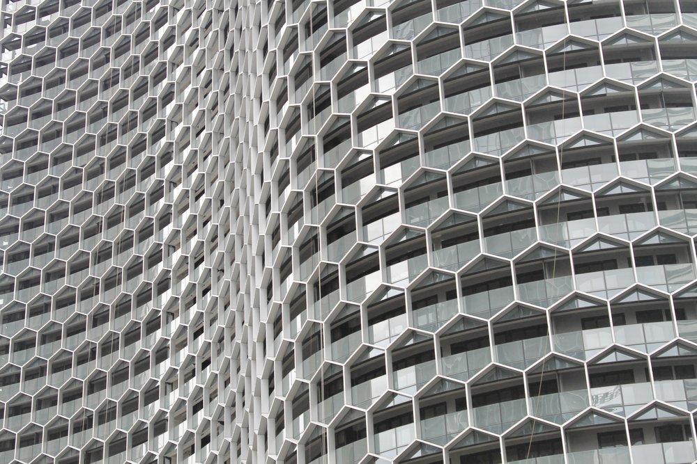 Close up of the Büro Ole Scheeren designed DUO towers
