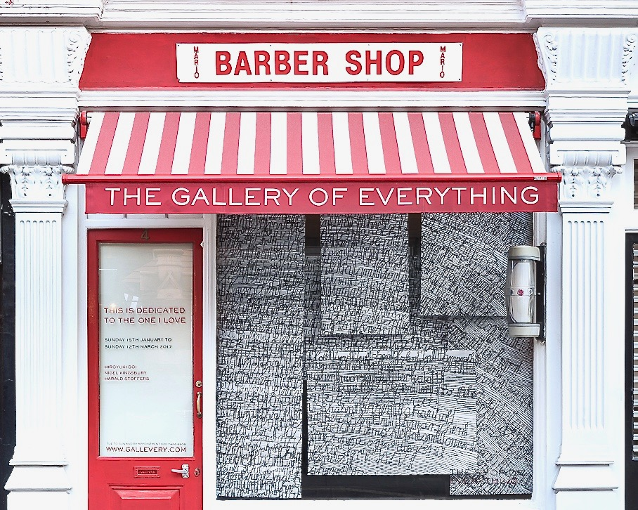With a nod to Mario's barber shop, the gallery is situated on Chiltern Street in West London