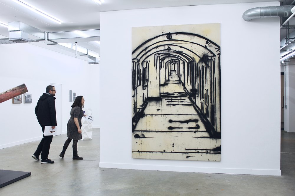 A painting by Tony Bevan entitled  Corridor  (PC9611), 1996, Acrylic and charcoal on Canvas, 274x180cm