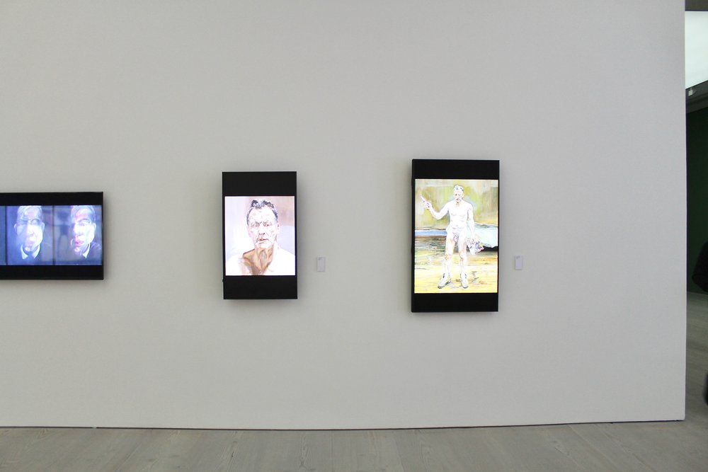 Old friends Francis Bacon and Lucien Freud hang side by side digitally in the show.