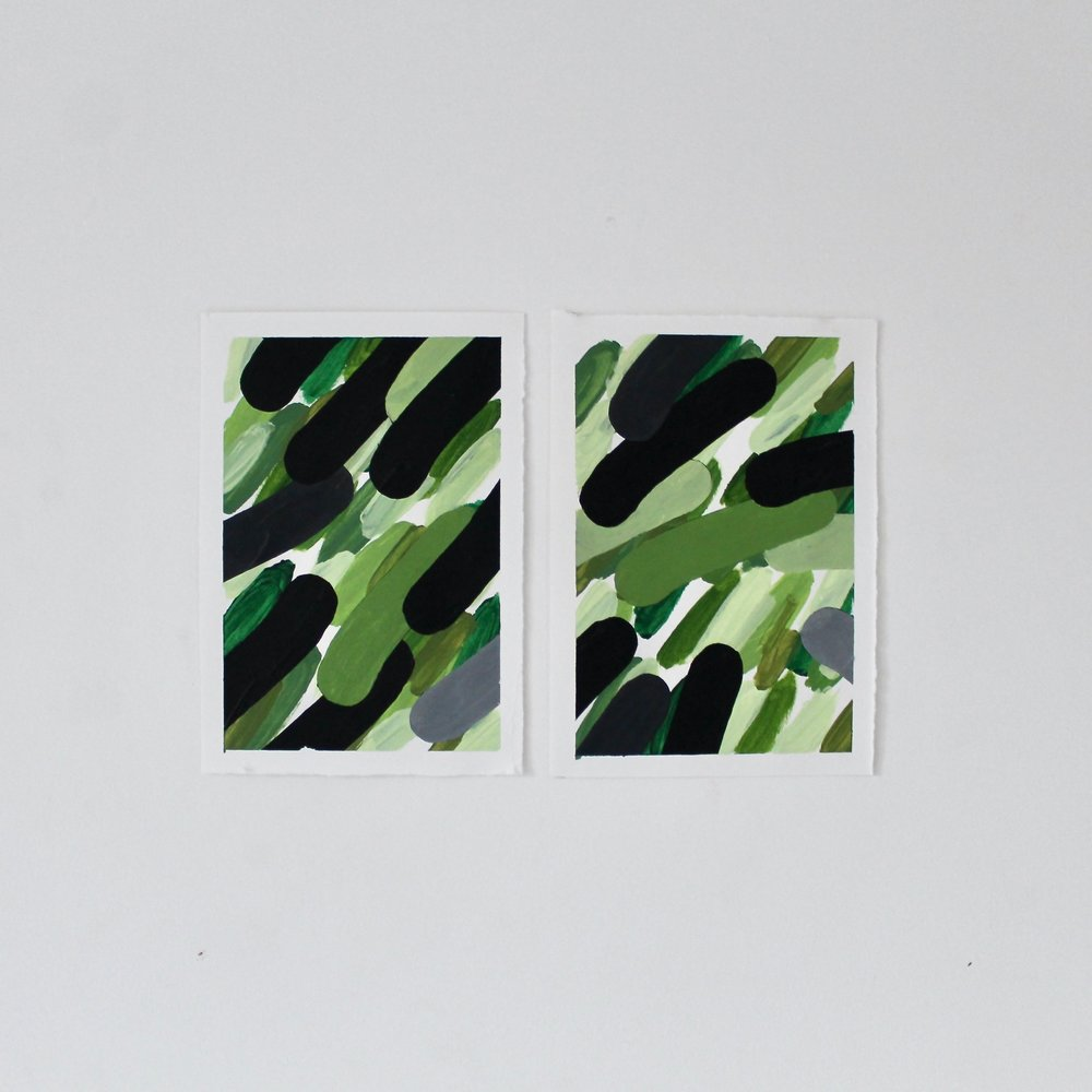 Green Paintings, 2018   Acrylic on paper, 32cm x 21cm